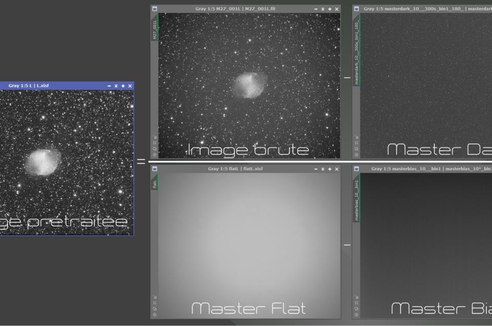 Prétraitement d'une image CCD monochrome (Pix)